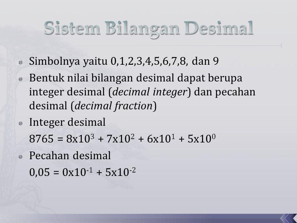  Simbolnya yaitu 0,1,2,3,4,5,6,7,8, dan 9  Bentuk nilai bilangan desimal dapat berupa integer desimal (decimal integer) dan pecahan desimal (decimal
