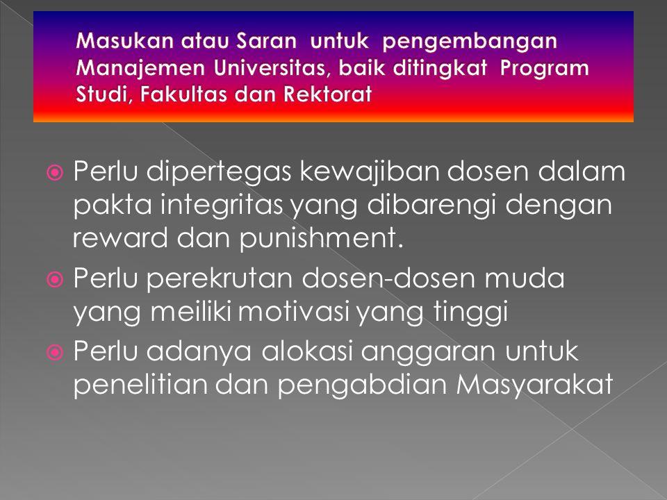  Perlu dipertegas kewajiban dosen dalam pakta integritas yang dibarengi dengan reward dan punishment.  Perlu perekrutan dosen-dosen muda yang meilik
