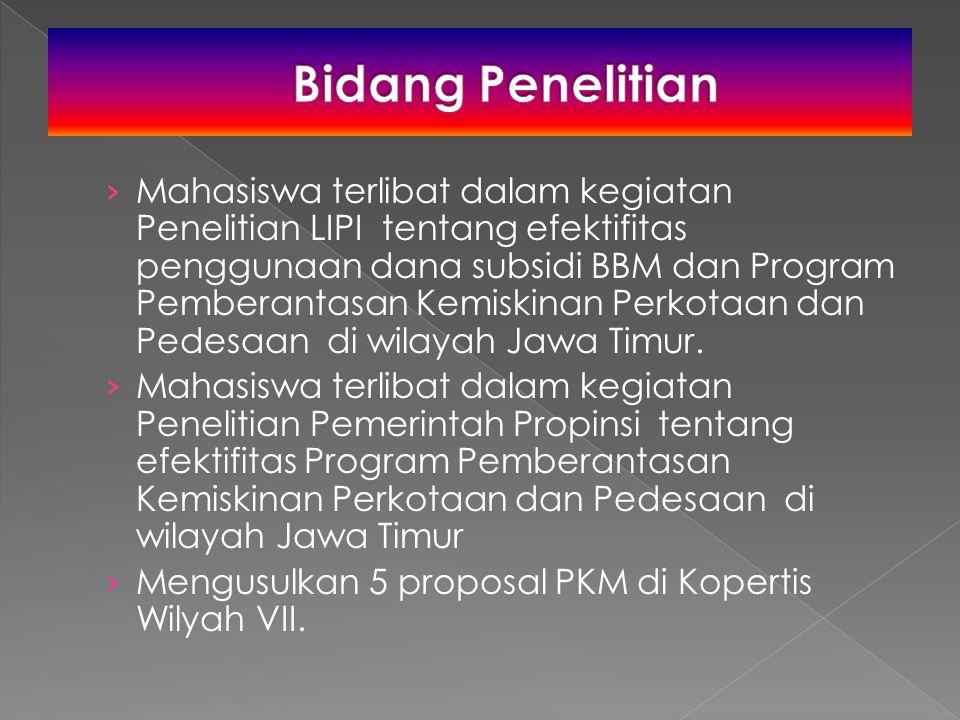 › Mahasiswa terlibat dalam kegiatan Penelitian LIPI tentang efektifitas penggunaan dana subsidi BBM dan Program Pemberantasan Kemiskinan Perkotaan dan Pedesaan di wilayah Jawa Timur.