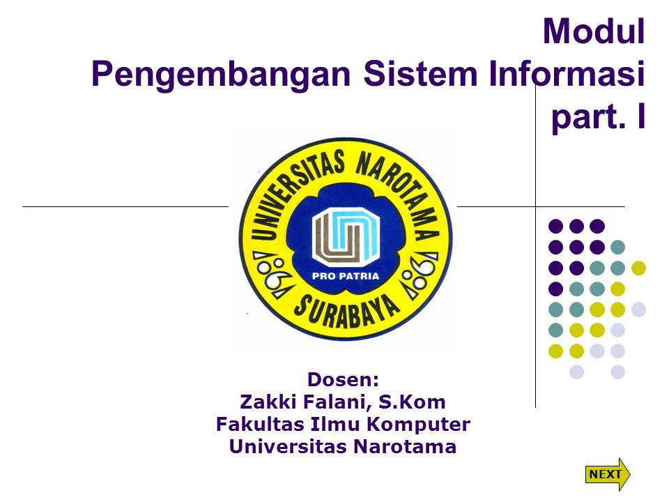 Modul Pengembangan Sistem Informasi part. I Dosen: Zakki Falani, S.Kom Fakultas Ilmu Komputer Universitas Narotama NEXT