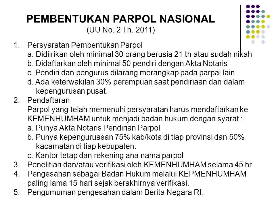 PEMBENTUKAN PARPOL NASIONAL (UU No. 2 Th. 2011) 1.Persyaratan Pembentukan Parpol a. Didiirikan oleh minimal 30 orang berusia 21 th atau sudah nikah b.