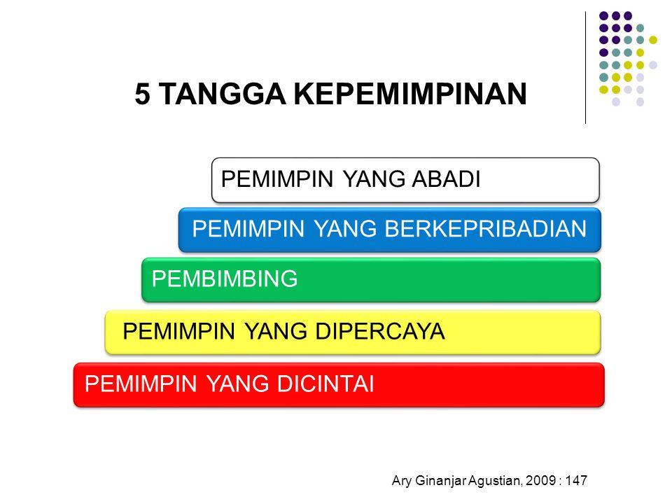 5 TANGGA KEPEMIMPINAN Ary Ginanjar Agustian, 2009 : 147 PEMIMPIN YANG DICINTAIPEMIMPIN YANG DIPERCAYAPEMBIMBINGPEMIMPIN YANG BERKEPRIBADIANPEMIMPIN YA