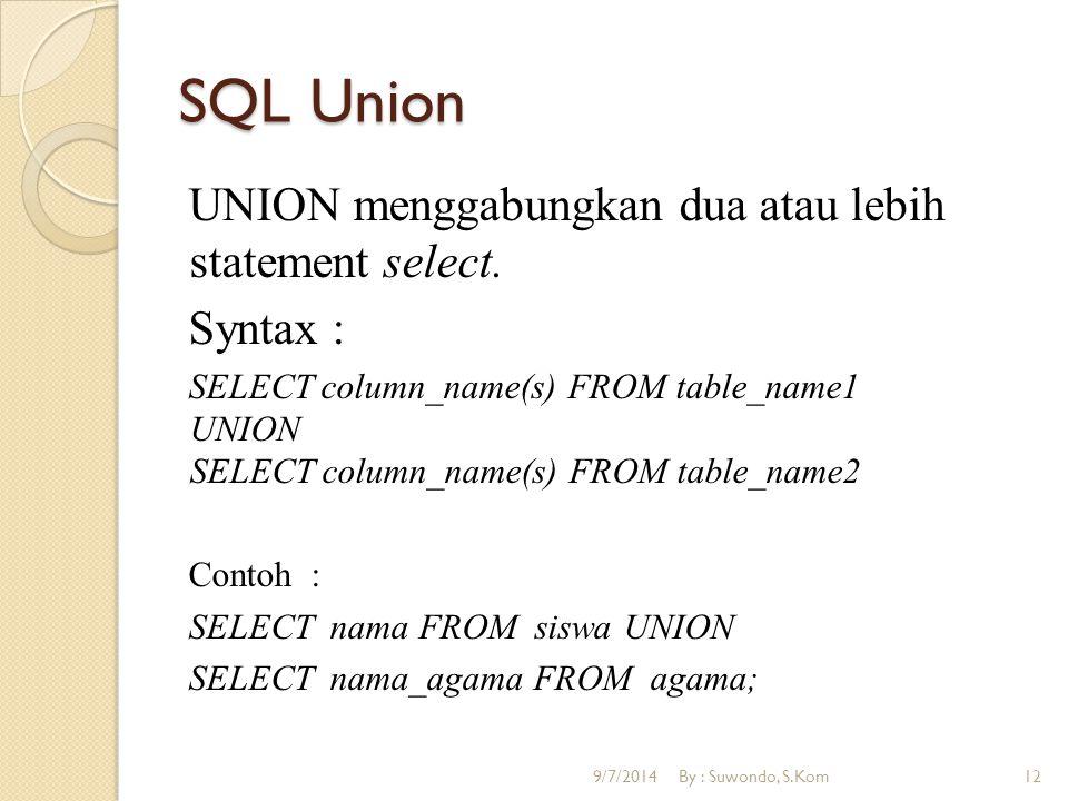 SQL Union UNION menggabungkan dua atau lebih statement select. Syntax : SELECT column_name(s) FROM table_name1 UNION SELECT column_name(s) FROM table_
