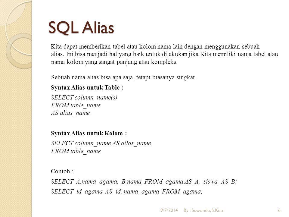 SQL Alias Kita dapat memberikan tabel atau kolom nama lain dengan menggunakan sebuah alias.