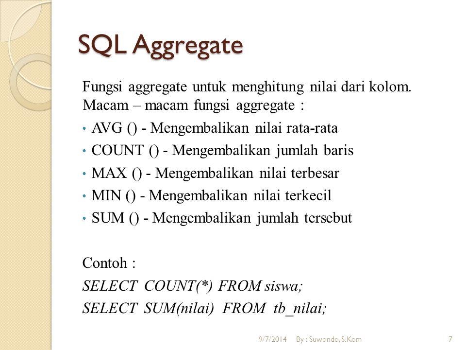 SQL Aggregate Fungsi aggregate untuk menghitung nilai dari kolom. Macam – macam fungsi aggregate : AVG () - Mengembalikan nilai rata-rata COUNT () - M