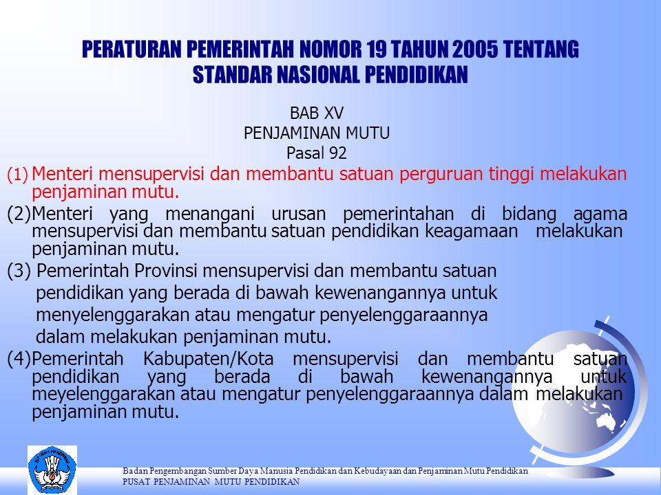 PERATURAN PEMERINTAH NOMOR 19 TAHUN 2005 TENTANG STANDAR NASIONAL PENDIDIKAN BAB XV PENJAMINAN MUTU Pasal 92 (1) Menteri mensupervisi dan membantu satuan perguruan tinggi melakukan penjaminan mutu.
