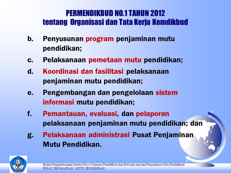 PERMENDIKBUD NO.1 TAHUN 2012 tentang Organisasi dan Tata Kerja Kemdikbud b.