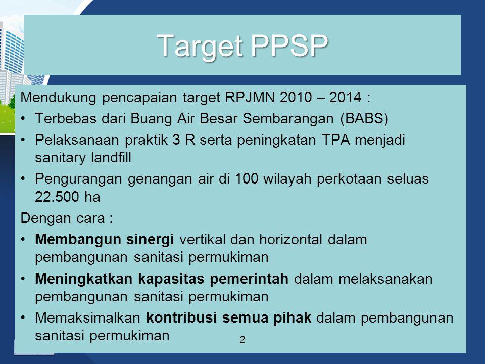 Target PPSP Mendukung pencapaian target RPJMN 2010 – 2014 : Terbebas dari Buang Air Besar Sembarangan (BABS) Pelaksanaan praktik 3 R serta peningkatan