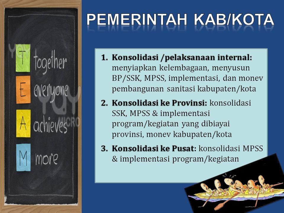 1.Konsolidasi /pelaksanaan internal: 1.Konsolidasi /pelaksanaan internal: menyiapkan kelembagaan, menyusun BP/SSK, MPSS, implementasi, dan monev pemba