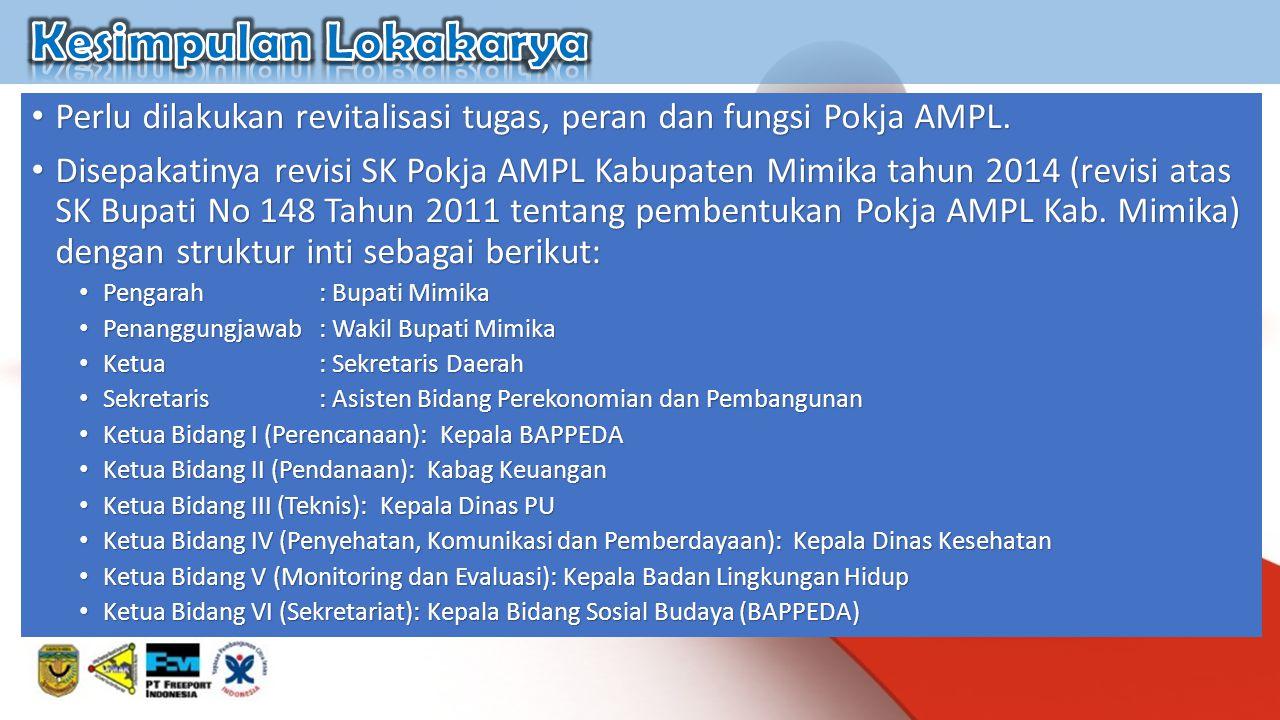 Perlu dilakukan revitalisasi tugas, peran dan fungsi Pokja AMPL. Perlu dilakukan revitalisasi tugas, peran dan fungsi Pokja AMPL. Disepakatinya revisi