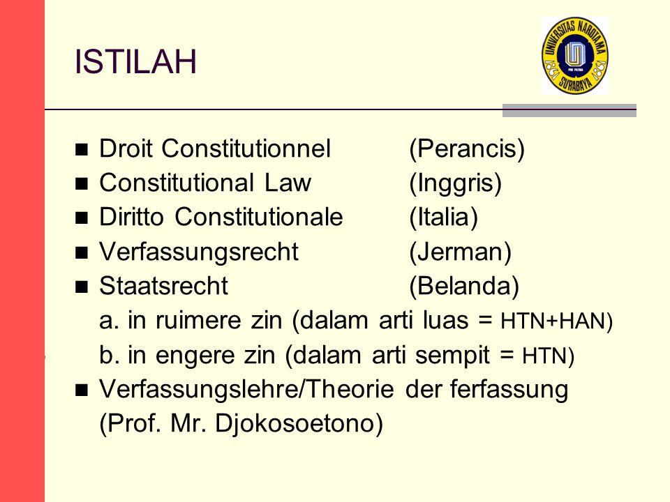 ISTILAH Droit Constitutionnel (Perancis) Constitutional Law (Inggris) Diritto Constitutionale(Italia) Verfassungsrecht (Jerman) Staatsrecht (Belanda) a.
