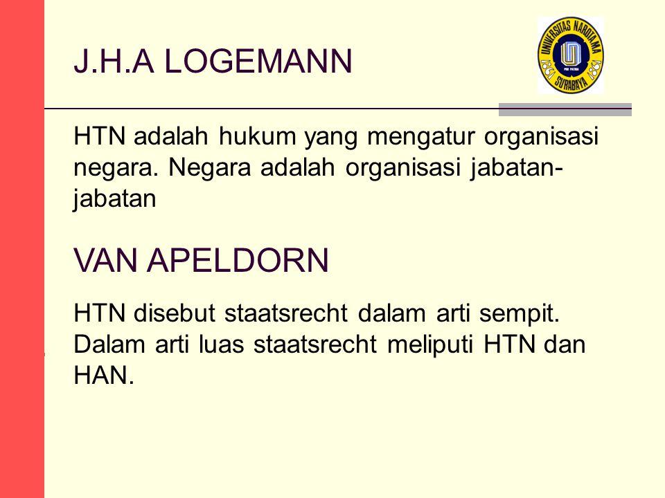 J.H.A LOGEMANN HTN adalah hukum yang mengatur organisasi negara. Negara adalah organisasi jabatan- jabatan VAN APELDORN HTN disebut staatsrecht dalam