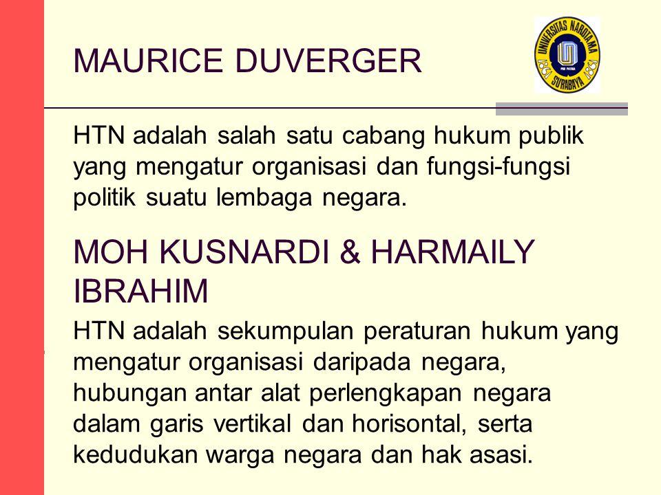 MAURICE DUVERGER HTN adalah salah satu cabang hukum publik yang mengatur organisasi dan fungsi-fungsi politik suatu lembaga negara. HTN adalah sekumpu