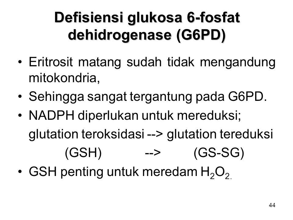 44 Defisiensi glukosa 6-fosfat dehidrogenase (G6PD) Eritrosit matang sudah tidak mengandung mitokondria, Sehingga sangat tergantung pada G6PD.