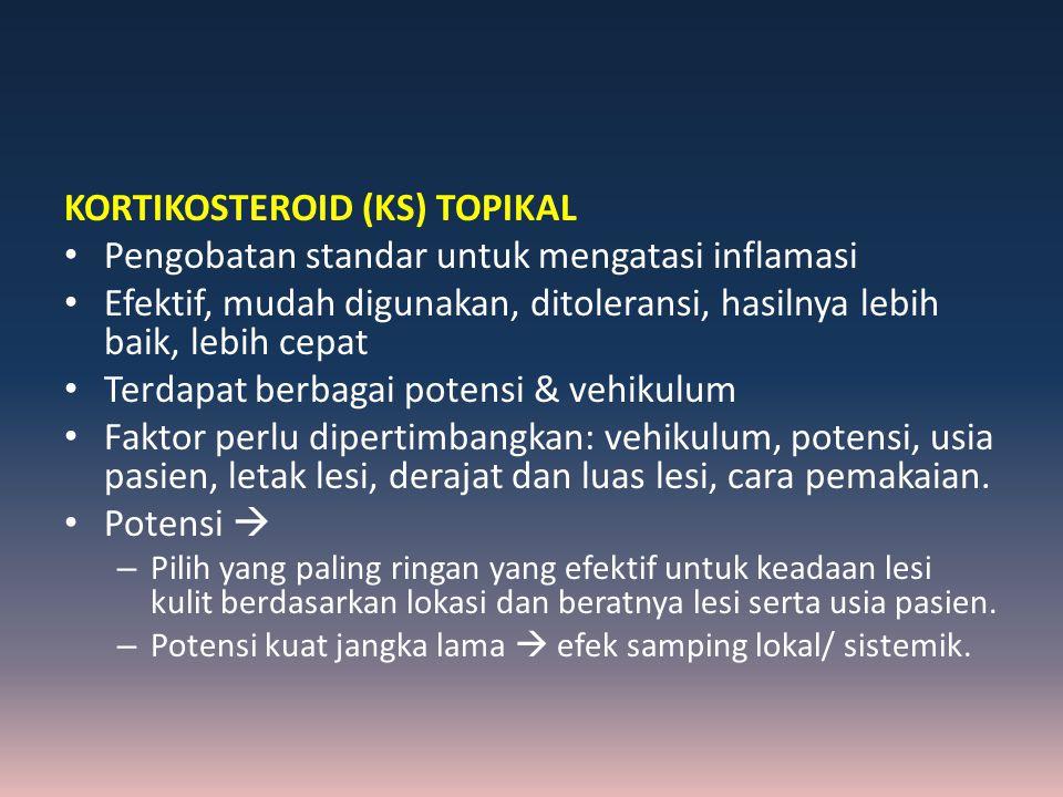 KORTIKOSTEROID (KS) TOPIKAL Pengobatan standar untuk mengatasi inflamasi Efektif, mudah digunakan, ditoleransi, hasilnya lebih baik, lebih cepat Terda