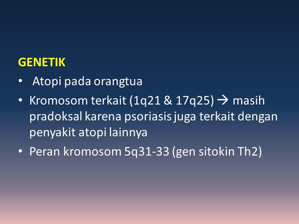 GENETIK Atopi pada orangtua Kromosom terkait (1q21 & 17q25)  masih pradoksal karena psoriasis juga terkait dengan penyakit atopi lainnya Peran kromos