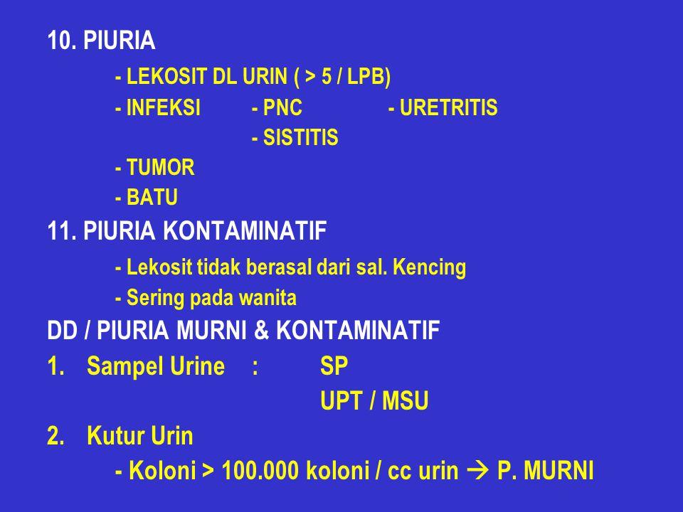 10.PIURIA - LEKOSIT DL URIN ( > 5 / LPB) - INFEKSI- PNC- URETRITIS - SISTITIS - TUMOR - BATU 11.