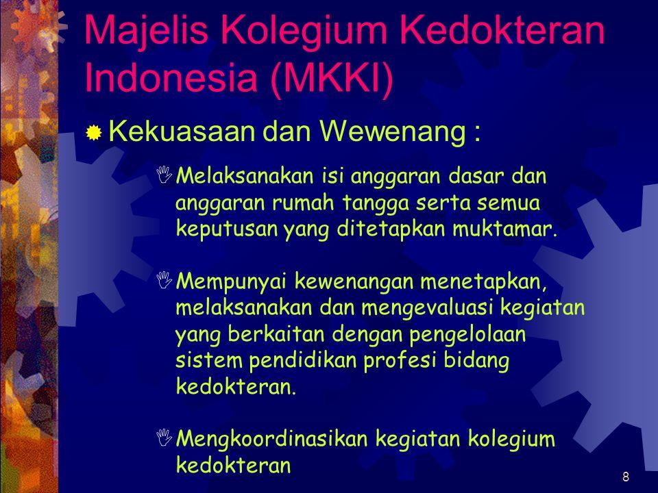8 Majelis Kolegium Kedokteran Indonesia (MKKI)  Kekuasaan dan Wewenang :  Melaksanakan isi anggaran dasar dan anggaran rumah tangga serta semua keputusan yang ditetapkan muktamar.