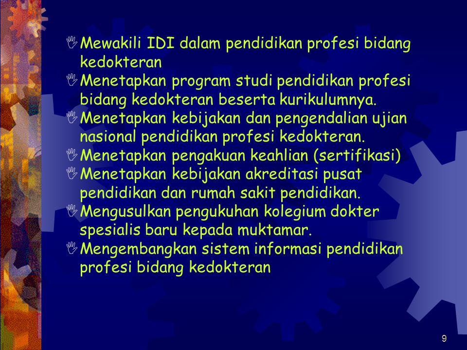8 Majelis Kolegium Kedokteran Indonesia (MKKI)  Kekuasaan dan Wewenang :  Melaksanakan isi anggaran dasar dan anggaran rumah tangga serta semua kepu