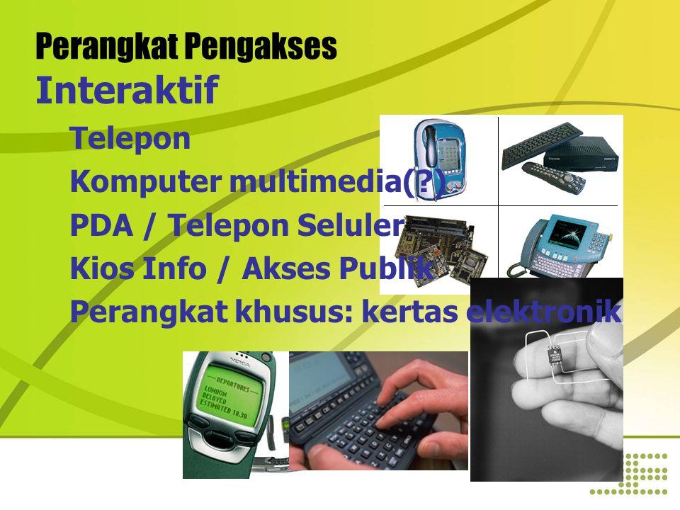 Perangkat Pengakses Interaktif Telepon Komputer multimedia( ) PDA / Telepon Seluler Kios Info / Akses Publik Perangkat khusus: kertas elektronik