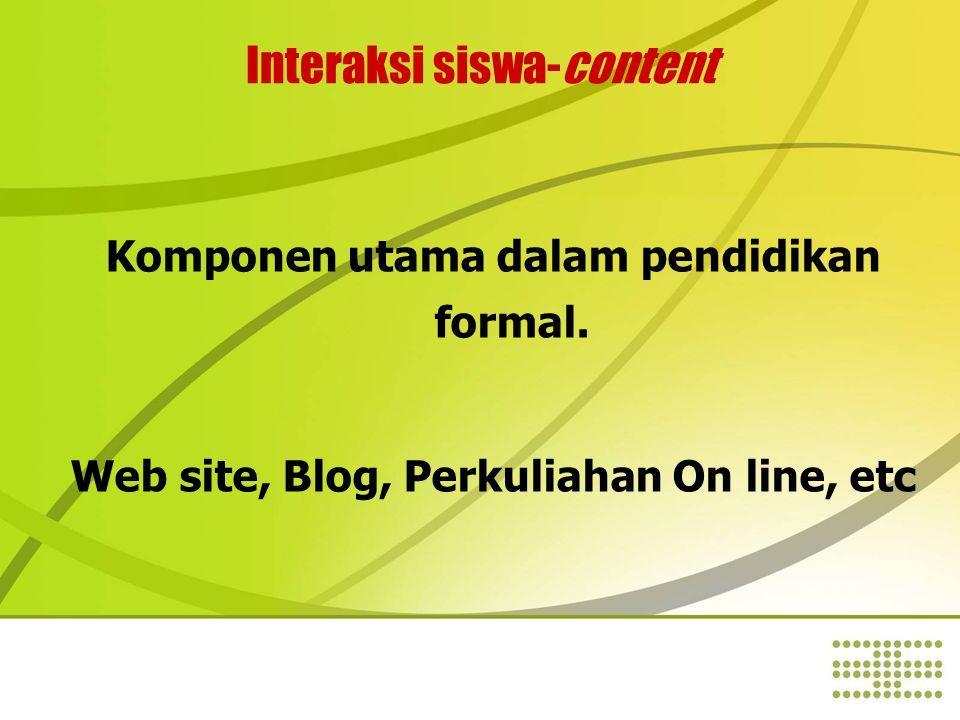 Interaksi siswa-content Komponen utama dalam pendidikan formal.