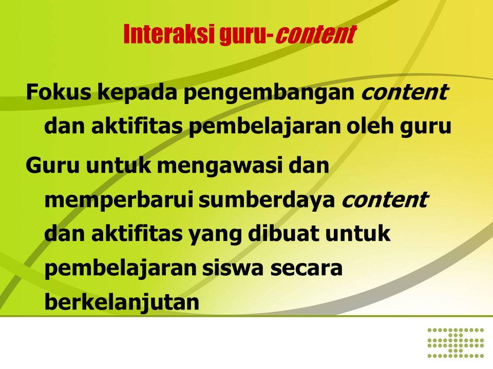Interaksi guru-content Fokus kepada pengembangan content dan aktifitas pembelajaran oleh guru Guru untuk mengawasi dan memperbarui sumberdaya content dan aktifitas yang dibuat untuk pembelajaran siswa secara berkelanjutan