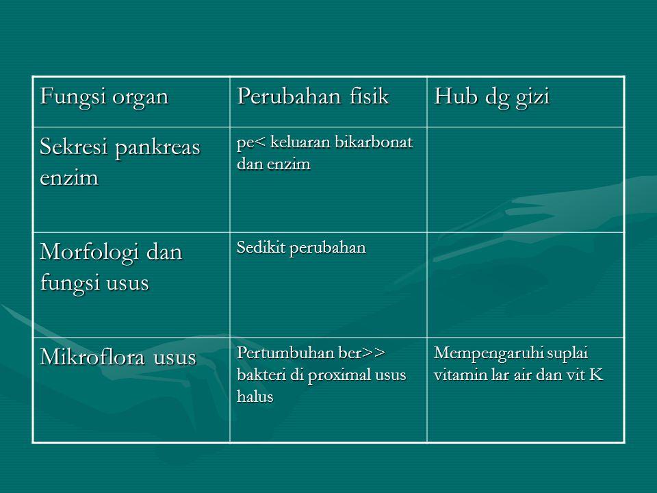 Fungsi organ Perubahan fisik Hub dg gizi Sekresi pankreas enzim pe< keluaran bikarbonat dan enzim Morfologi dan fungsi usus Sedikit perubahan Mikroflo