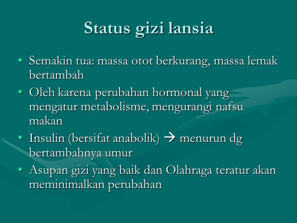 Status gizi lansia Semakin tua: massa otot berkurang, massa lemak bertambahSemakin tua: massa otot berkurang, massa lemak bertambah Oleh karena peruba