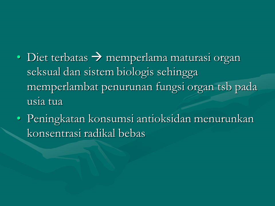 Diet terbatas  memperlama maturasi organ seksual dan sistem biologis sehingga memperlambat penurunan fungsi organ tsb pada usia tuaDiet terbatas  me