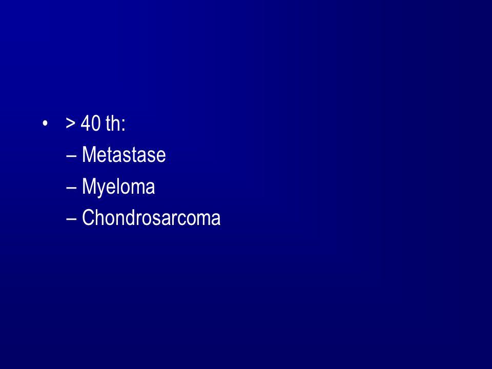 > 40 th: –Metastase –Myeloma –Chondrosarcoma