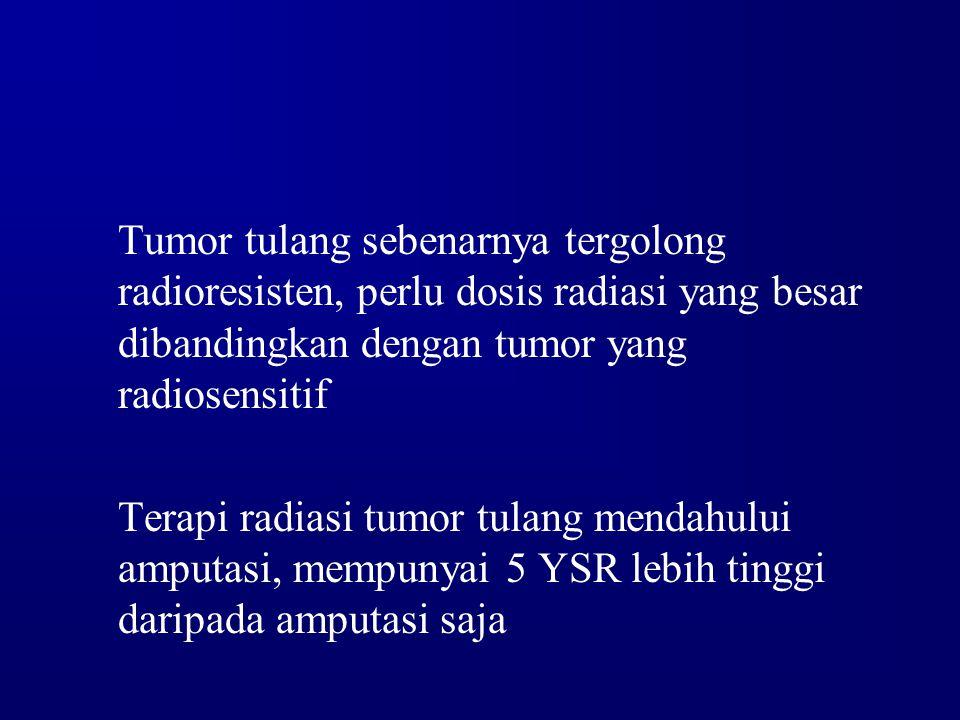 Tumor tulang sebenarnya tergolong radioresisten, perlu dosis radiasi yang besar dibandingkan dengan tumor yang radiosensitif Terapi radiasi tumor tula
