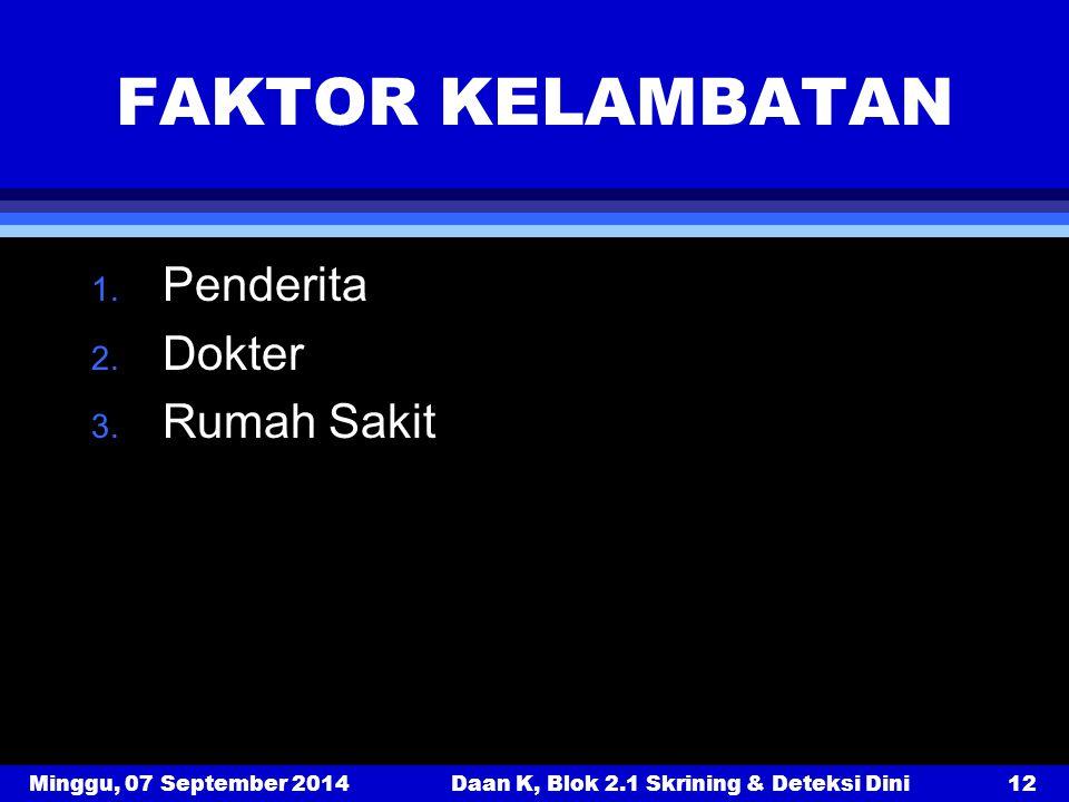 Minggu, 07 September 2014Daan K, Blok 2.1 Skrining & Deteksi Dini12 FAKTOR KELAMBATAN 1. Penderita 2. Dokter 3. Rumah Sakit
