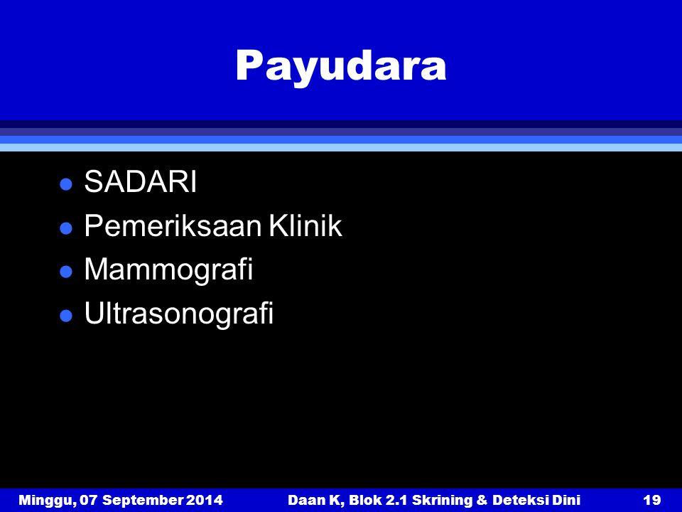 Minggu, 07 September 2014Daan K, Blok 2.1 Skrining & Deteksi Dini19 Payudara l SADARI l Pemeriksaan Klinik l Mammografi l Ultrasonografi