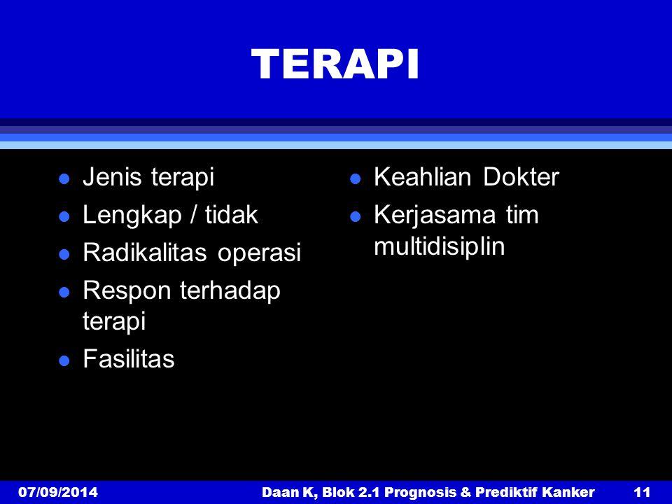 TERAPI l Jenis terapi l Lengkap / tidak l Radikalitas operasi l Respon terhadap terapi l Fasilitas l Keahlian Dokter l Kerjasama tim multidisiplin 07/09/2014Daan K, Blok 2.1 Prognosis & Prediktif Kanker11