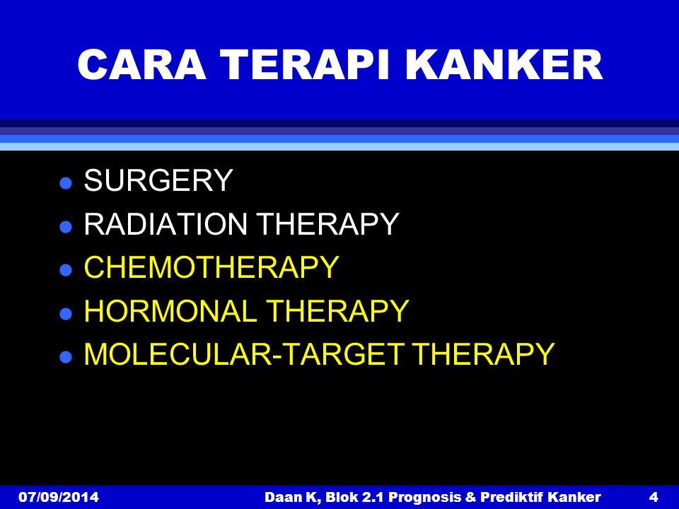 07/09/2014Daan K, Blok 2.1 Prognosis & Prediktif Kanker4 CARA TERAPI KANKER l SURGERY l RADIATION THERAPY l CHEMOTHERAPY l HORMONAL THERAPY l MOLECULAR-TARGET THERAPY