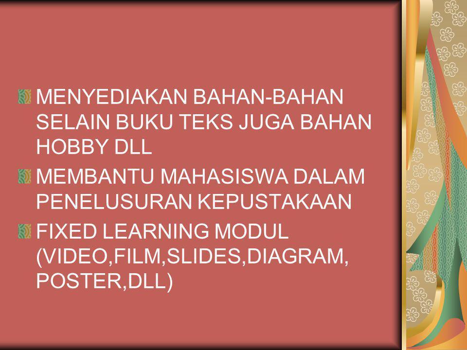 MENYEDIAKAN BAHAN-BAHAN SELAIN BUKU TEKS JUGA BAHAN HOBBY DLL MEMBANTU MAHASISWA DALAM PENELUSURAN KEPUSTAKAAN FIXED LEARNING MODUL (VIDEO,FILM,SLIDES,DIAGRAM, POSTER,DLL)