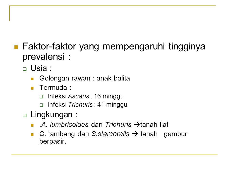 Faktor-faktor yang mempengaruhi tingginya prevalensi :  Usia : Golongan rawan : anak balita Termuda :  Infeksi Ascaris : 16 minggu  Infeksi Trichur