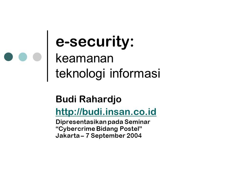 """e-security: keamanan teknologi informasi Budi Rahardjo http://budi.insan.co.id Dipresentasikan pada Seminar """"Cybercrime Bidang Postel"""" Jakarta – 7 Sep"""