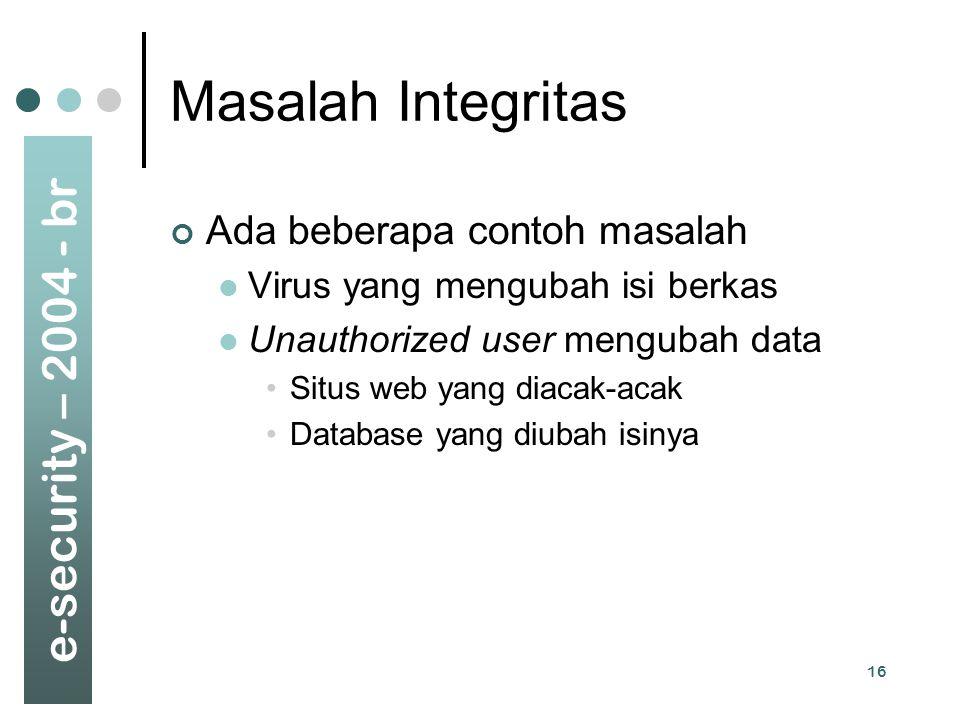 e-security – 2004 - br 16 Masalah Integritas Ada beberapa contoh masalah Virus yang mengubah isi berkas Unauthorized user mengubah data Situs web yang