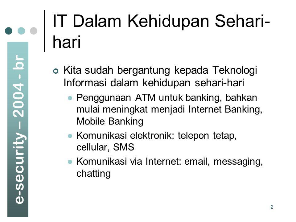e-security – 2004 - br 2 IT Dalam Kehidupan Sehari- hari Kita sudah bergantung kepada Teknologi Informasi dalam kehidupan sehari-hari Penggunaan ATM u