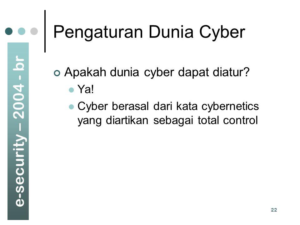 e-security – 2004 - br 22 Pengaturan Dunia Cyber Apakah dunia cyber dapat diatur? Ya! Cyber berasal dari kata cybernetics yang diartikan sebagai total