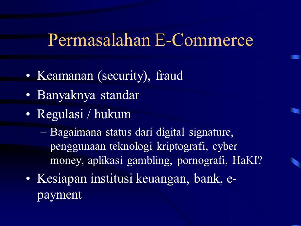 Permasalahan E-Commerce Keamanan (security), fraud Banyaknya standar Regulasi / hukum –Bagaimana status dari digital signature, penggunaan teknologi kriptografi, cyber money, aplikasi gambling, pornografi, HaKI.