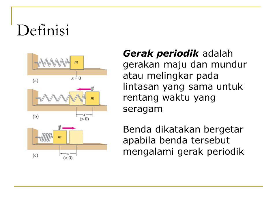 Definisi Gerak periodik adalah gerakan maju dan mundur atau melingkar pada lintasan yang sama untuk rentang waktu yang seragam Benda dikatakan bergetar apabila benda tersebut mengalami gerak periodik