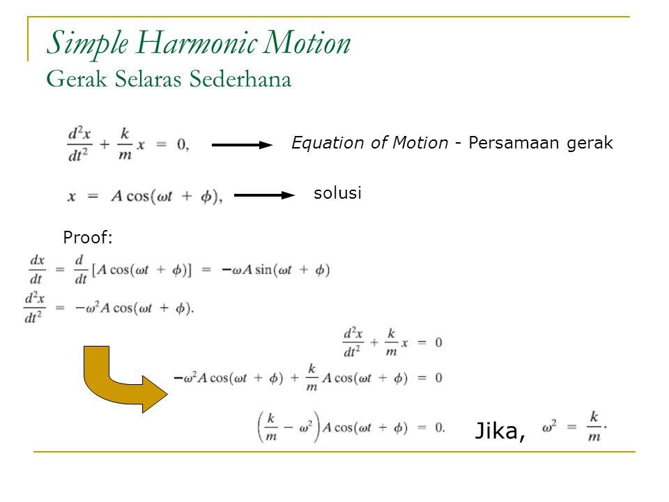 Simple Harmonic Motion Gerak Selaras Sederhana Equation of Motion - Persamaan gerak solusi Proof: Jika,