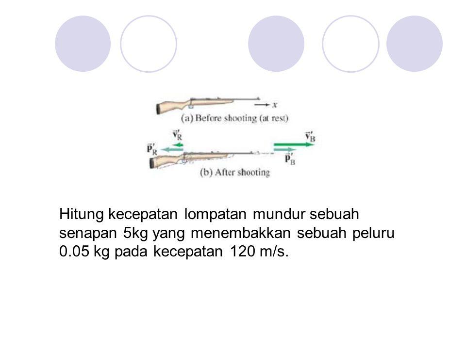 Hitung kecepatan lompatan mundur sebuah senapan 5kg yang menembakkan sebuah peluru 0.05 kg pada kecepatan 120 m/s.