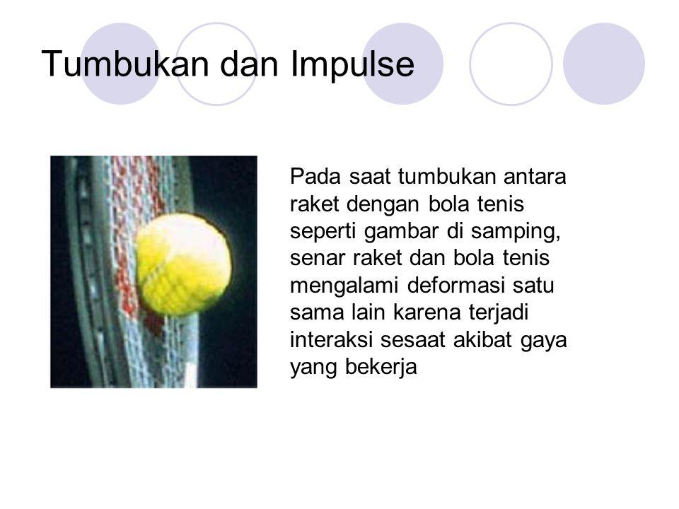 Tumbukan dan Impulse Pada saat tumbukan antara raket dengan bola tenis seperti gambar di samping, senar raket dan bola tenis mengalami deformasi satu sama lain karena terjadi interaksi sesaat akibat gaya yang bekerja