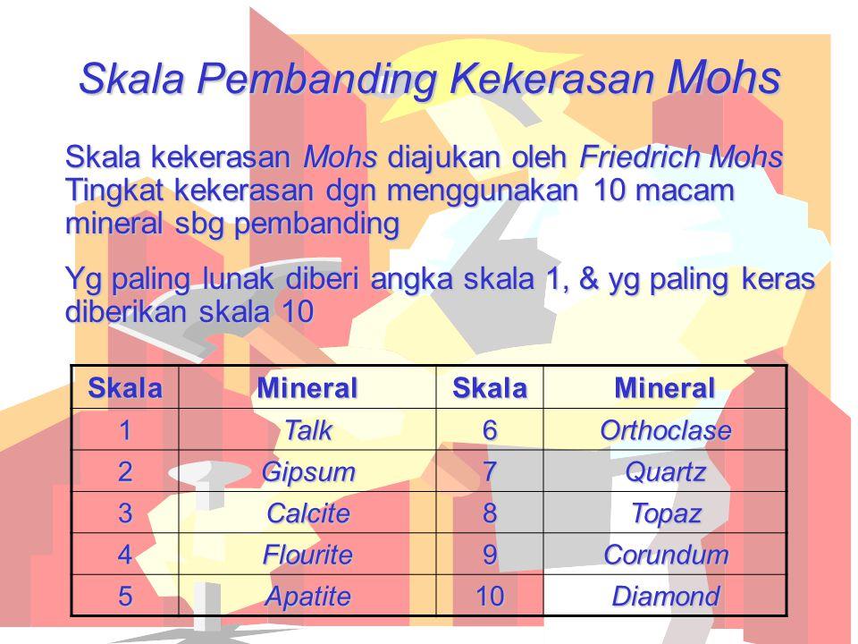 Skala Pembanding Kekerasan Mohs Skala kekerasan Mohs diajukan oleh Friedrich Mohs Tingkat kekerasan dgn menggunakan 10 macam mineral sbg pembanding Yg