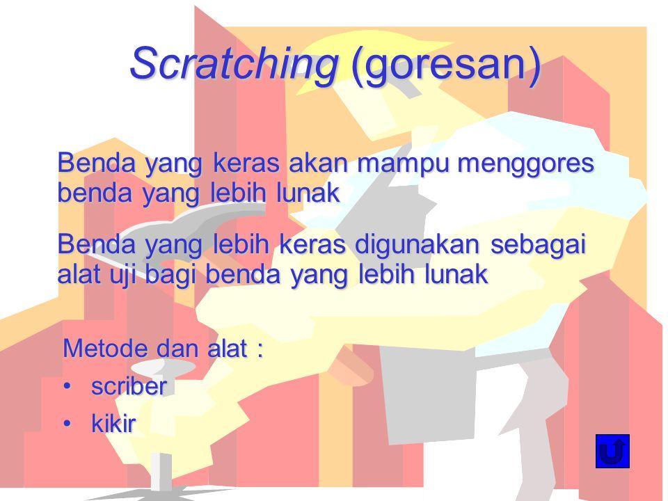 Scratching (goresan) Benda yang keras akan mampu menggores benda yang lebih lunak Benda yang lebih keras digunakan sebagai alat uji bagi benda yang le