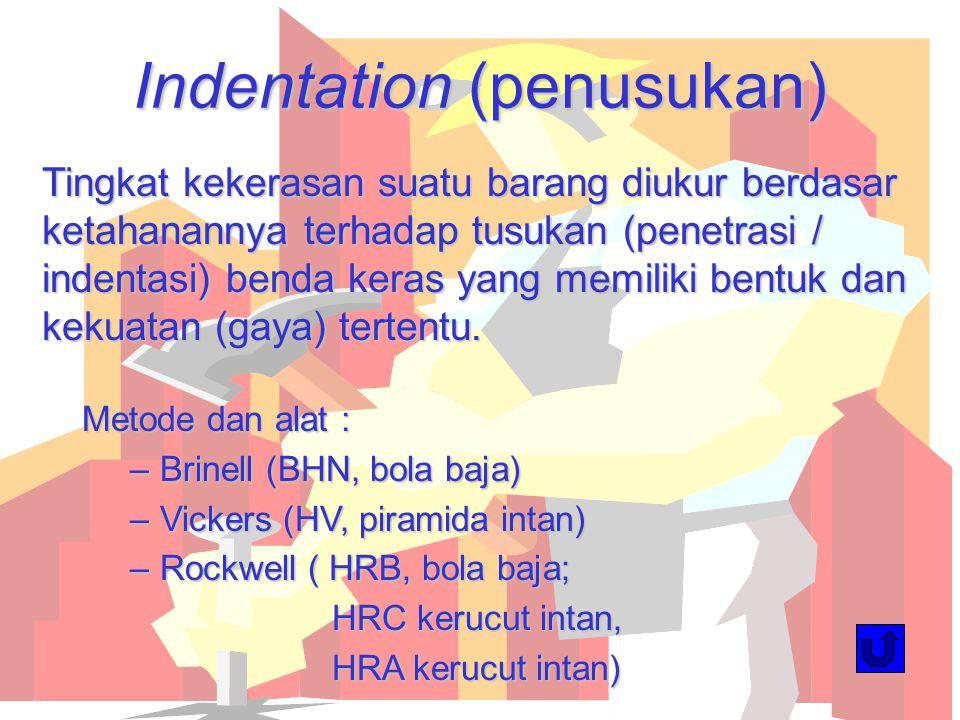 Indentation (penusukan) Tingkat kekerasan suatu barang diukur berdasar ketahanannya terhadap tusukan (penetrasi / indentasi) benda keras yang memiliki