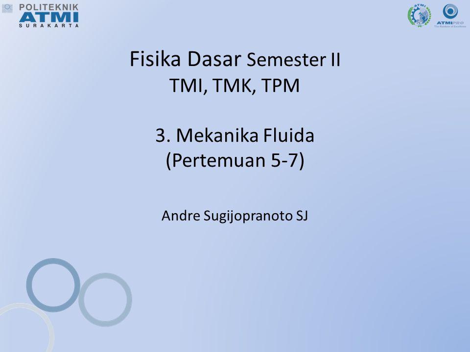 Fisika Dasar Semester II TMI, TMK, TPM 3. Mekanika Fluida (Pertemuan 5-7) Andre Sugijopranoto SJ